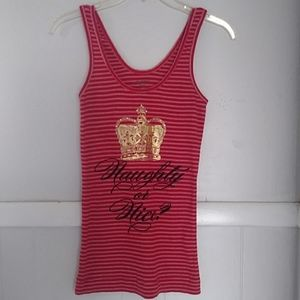Juicy couture red striped embellished tank